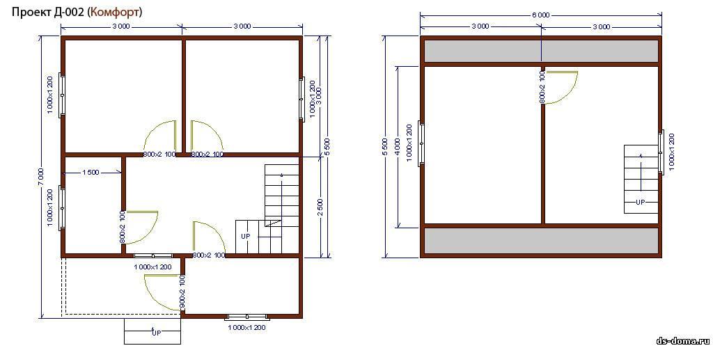 Планировка комплектации КОМФОРТ. Дом из бруса: проект Д-002 размер: 6.0 на 7.0 м.