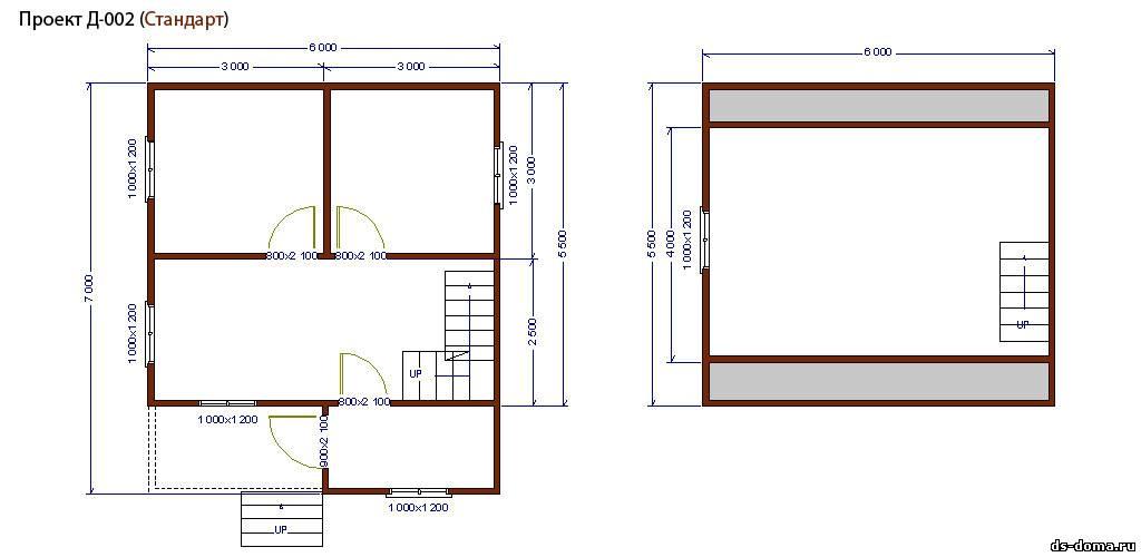 Планировка комплектации СТАНДАРТ. Дом из бруса: проект Д-002 размер: 6.0 на 7.0 м.