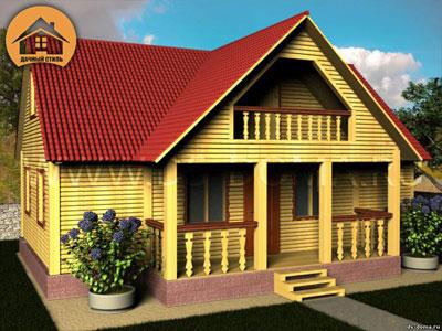 Брусовой дом 7.5x10 м. от компании Дачный Стиль