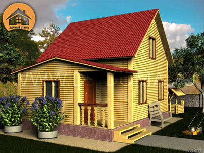 Брусовой дом 6x8 м. от компании Дачный Стиль