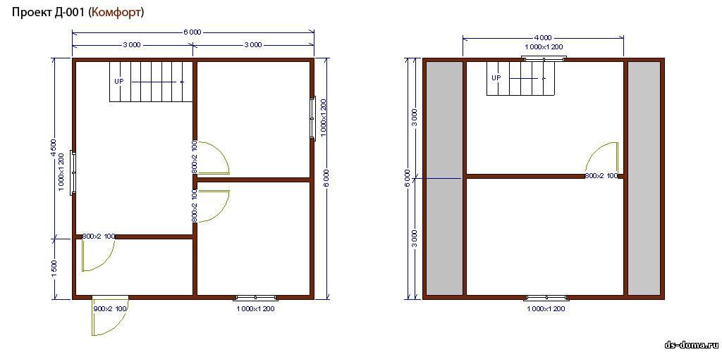 Планировка комплектации КОМФОРТ. Дом из бруса: проект Д-001 размер: 6.0 на 6.0 м.