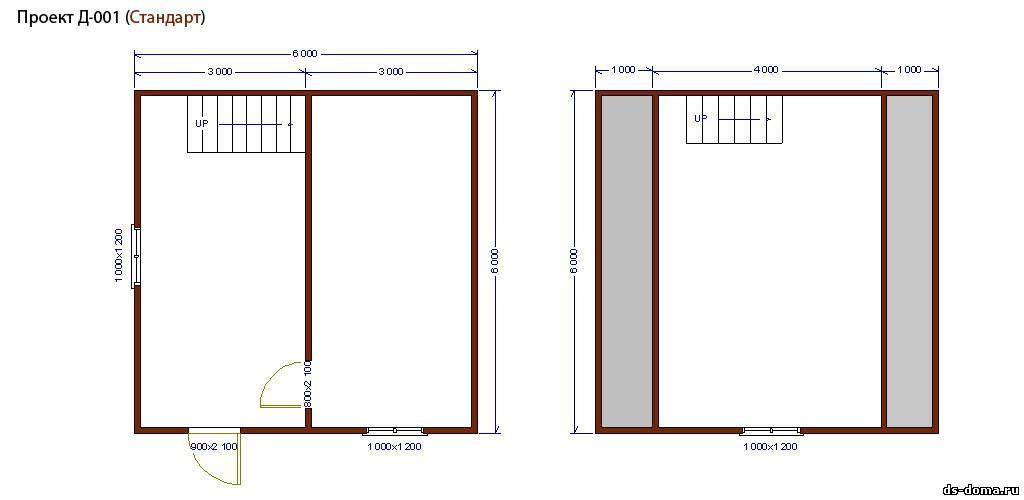 Планировка комплектации СТАНДАРТ. Дом из бруса: проект Д-001 размер: 6.0 на 6.0 м.