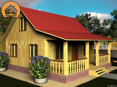 Брусовой дом 8x8 м. от компании Дачный Стиль