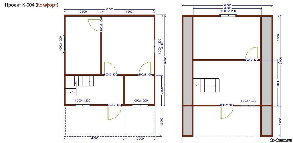 Каркасный дом проект к 004 размер 6 0 на