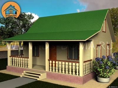 Каркасный дом 8x8 м. от компании Дачный Стиль