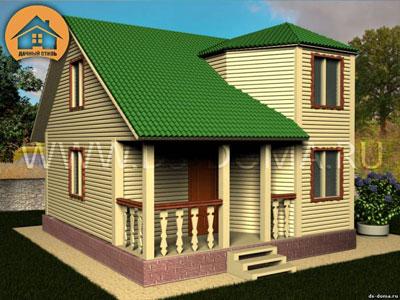 Каркасный дом 7x7 м. от компании Дачный Стиль