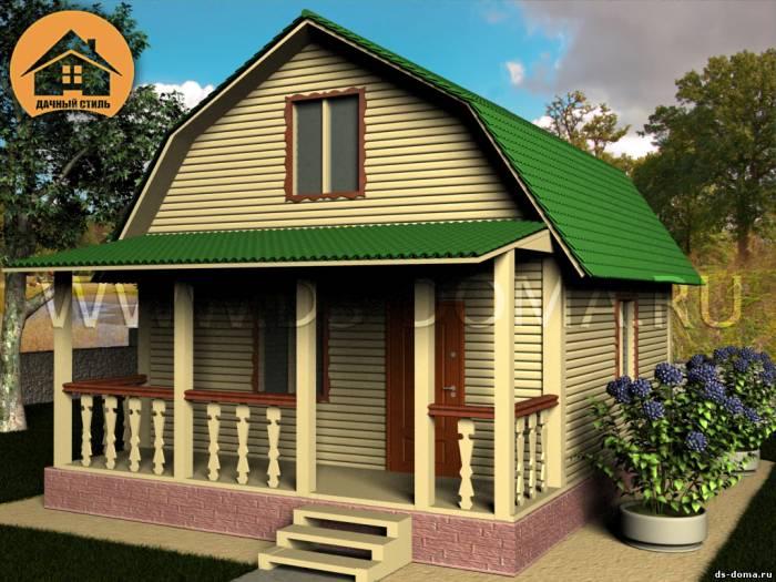 Каркасный дом: проект К-009 размер: 6.0 на 8.0 м.. Дома под ключ под ключ, от компании Дачный Стиль.