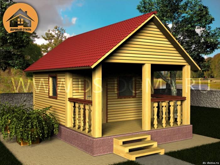 Баня из бруса: проект Б-005 размер: 6.0 на 4.0 м.. Деревянные бани, от компании Дачный Стиль.