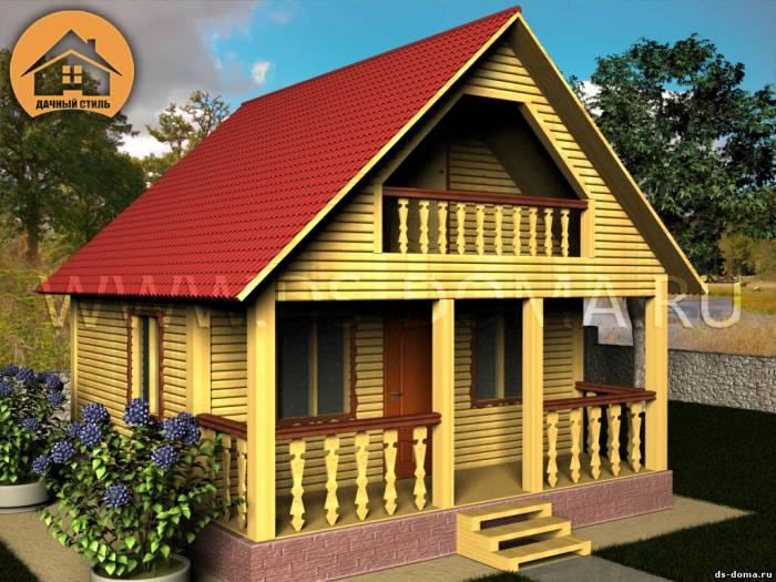 Проект Д-004 размер: 6.0 на 8.0 м.. Дома под ключ под ключ, от компании Дачный Стиль.