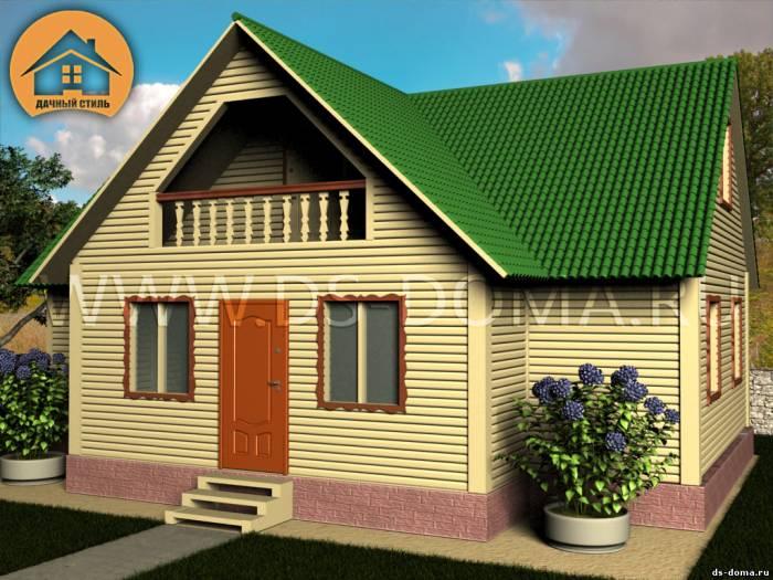 Каркасный дом: проект К-014 размер: 7.5 на 10.0 м.. Дома под ключ под ключ, от компании Дачный Стиль.