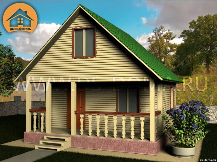 Каркасный дом: проект К-003 размер: 6.0 на 8.0 м.. Дома под ключ, от компании Дачный Стиль.