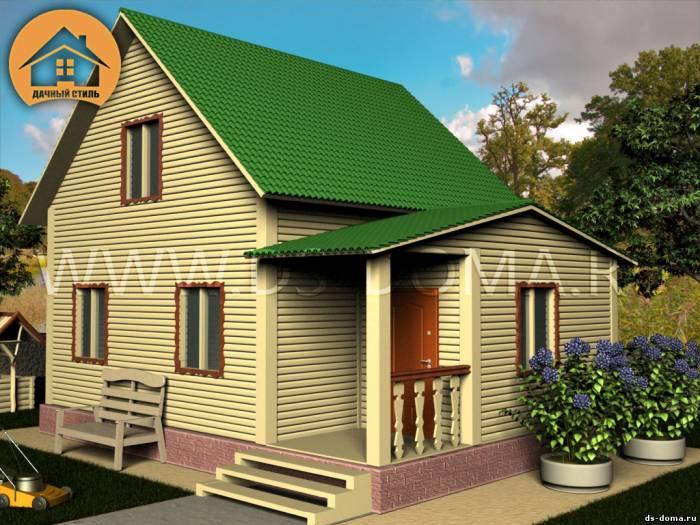 Каркасный дом: проект К-017 размер: 6.0 на 8.0 м.. Дома под ключ, от компании Дачный Стиль.