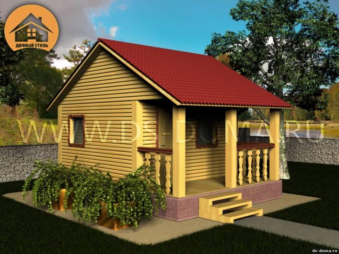 Баня из бруса: проект Б-004 размер: 4.0 на 6.0 м.. Деревянные бани, от компании Дачный Стиль.