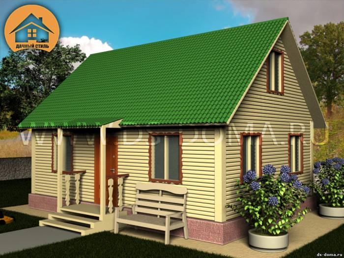 Каркасный дом: проект К-019 размер: 6.0 на 8.0 м.. Дома под ключ, от компании Дачный Стиль.
