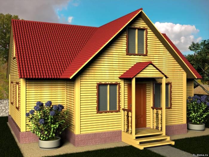 Проект Д-016 размер: 8.0 на 10.0 м.. Дома под ключ под ключ, от компании Дачный Стиль.