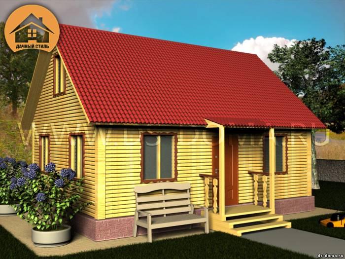 Дом из бруса: проект Д-019 размер: 6.0 на 8.0 м.. Дома под ключ, от компании Дачный Стиль.