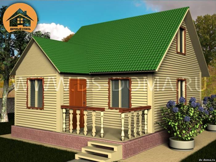 Каркасный дом: проект К-002 размер: 6.0 на 7.0 м.. Дома под ключ, от компании Дачный Стиль.